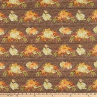 Fabric Editions Holiday Rustic Harvest Pumpkins on Shiplap Brown