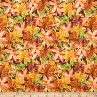 Fabric Editions Holiday Rustic Harvest Leaves Multi