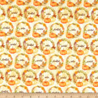 Fabric Editions Holiday Rustic Harvest Wreaths Cream