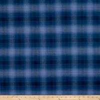 Kaufman Mammoth Flannel Royal Gray Plaid