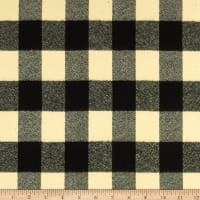 Kaufman Mammoth Flannel Ivory Black Buffalo Check