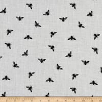Telio Viscose Mix Twill Print Honey Bees  Grey Mix Black