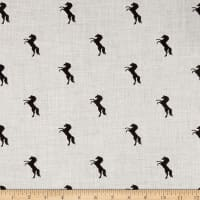 Telio Viscose Mix Twill Print Horses  Grey Mix Black