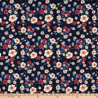 Telio Morocco Blues Stretch Cotton Poplin Floral Navy Fuchsia