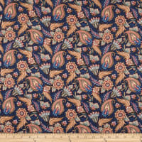 Telio Morocco Blues Stretch Cotton Poplin Paisley Navy Copper
