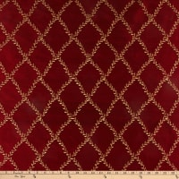 KasLen Lattice Embroidered 100% Silk Red