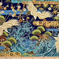 Trans-Pacific Textiles Asian Tsuru Wave Navy