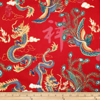Trans-Pacific Textiles Asian Legend of the Dragon and Phoenix Red