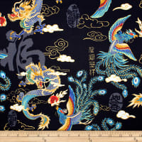 Trans-Pacific Textiles Asian Legend of the Dragon and Phoenix Black