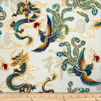 Trans-Pacific Textiles Asian Legend of the Dragon and Phoenix Beige