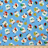 Trans-Pacific Textiles Asian Lucky Cat in the Neko Wave Turquoise