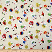 Trans-Pacific Textiles Asian Lucky Cat in the Neko Wave Beige