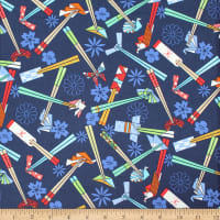 Trans-Pacific Textiles Asian Origami and Chopsticks Blue