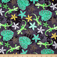 Trans-Pacific Textiles Hawaiian Gecko Tropical Forest Black