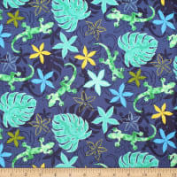 Trans-Pacific Textiles Hawaiian Gecko Tropical Forest Navy