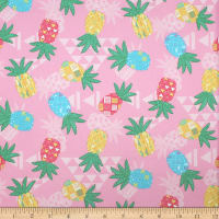 Trans-Pacific Textiles Hawaiian Tribal Pineapple Pink
