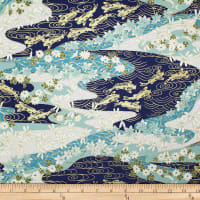 Trans-Pacific Textiles Asian Koi, Dragonfly w/Metallic Navy