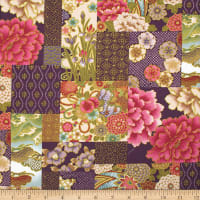 Trans-Pacific Textiles Asian Iris & Chrysanthemums Blocks Purple