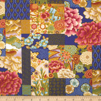 Trans-Pacific Textiles Asian Iris & Chrysanthemums Blocks Navy