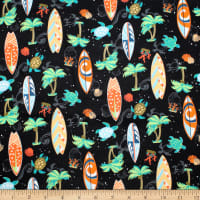 Trans-Pacific Textiles Hawaiian Turtle Surf Black