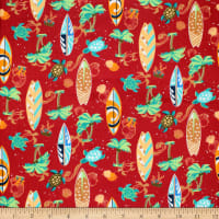Trans-Pacific Textiles Hawaiian Turtle Surf Red