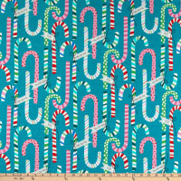 Alexander Henry Candy Canes Teal