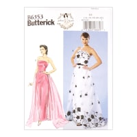 Butterick B6353 Patterns by Gertie Strapless Dress, Detachable Train & Belt A5 (SZ 6-14)