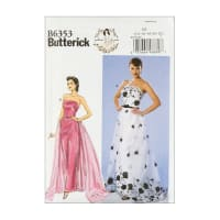 Butterick B6353 Patterns by Gertie Strapless Dress, Detachable Train & Belt E5 (SZ 14-22)