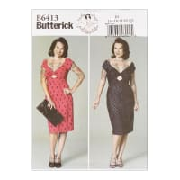 Butterick B6413 Patterns by Gertie Misses' Gathered-Front, Keyhole Dress E5 (Sizes 14-22)