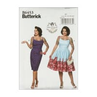 Butterick B6453 Patterns by Gertie Princess Dresses, Straight/Gathered Skirt E5 (SZ 14-22)