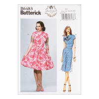 Butterick B6483 Patterns by Gertie Dresses w/ Mandarin Collar & Skirt Options A5 (SZ 6-14)