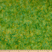 Anthology Batiks Path Of Flowers Art Inspired Spiked Leaf Green