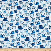 Dear Stella Digital Blue Crush Cat Expressions White