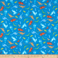 Comfy Flannel Print Dinosaurs Blue