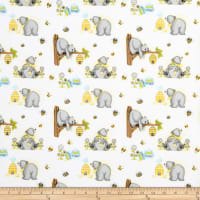Comfy Flannel Print Bears & Bees White