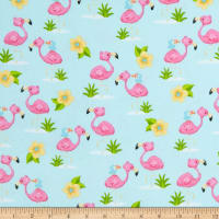 Comfy Flannel Print Flamingoes White