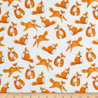 Comfy Flannel Print Foxes White