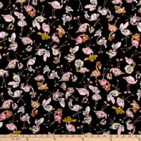 Loralie Designs Flamingo Fancy Tossed Flams Black