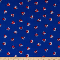 Swimwear Nylon Spandex Tricot Knit Sailboats Red/Royal