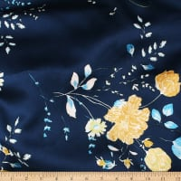 Telio Pebble Satin Crepe Floral Navy