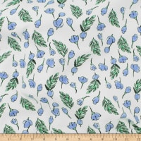 Telio Organic Stretch Cotton Jersey Floral Blue