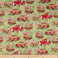 Susan Winget Patriotic Red Trucks And Wagons Multi