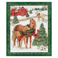Susan Winget Christmas Two Horses Panel Multi