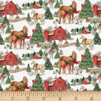 Susan Winget Christmas Two Horses Scenic Multi