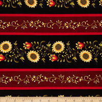 Henry Glass Count Your Blessings Floral Border Stripe Black