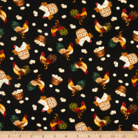 Henry Glass Count Your Blessings Roosters & Hens Black