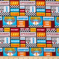 Henry Glass Start Your Engines Racing Words Patch Allover Black