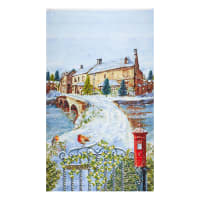 "Henry Glass Winter Cottage 24"" Scenic Banner Panel Blue"