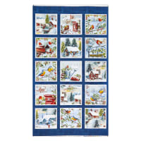 "Henry Glass Winter Cottage 24"" Panel Scenic Blocks Navy"
