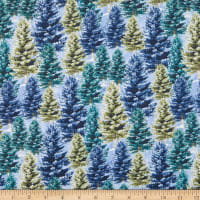Henry Glass Winter Cottage Pine Trees Silver
